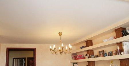 Гостиная с матовым потолком и люстрой