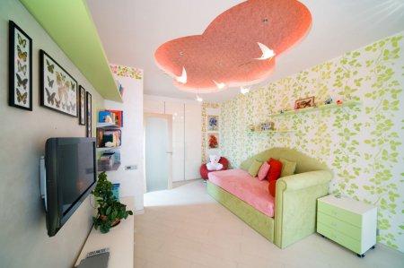 Бархатный натяжной потолок в детской