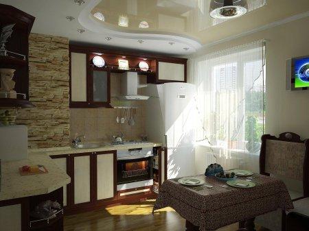 Бежевой натяжной потолок в кухне