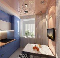 Бежевый глянцевый потолок на кухне