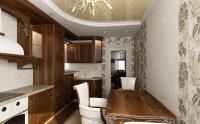 Бежевый натяжной потолок на кухне