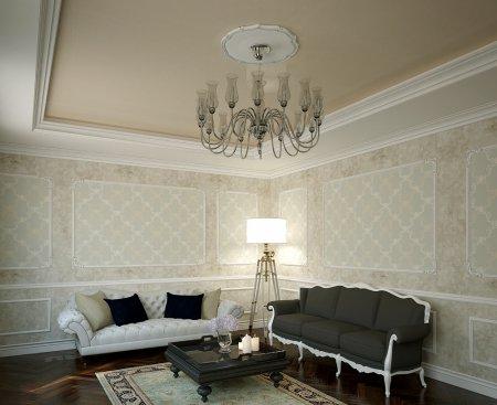 Бежевый потолок в гостиной с люстрой