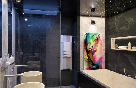 Черный глянцевый потолок в ванной