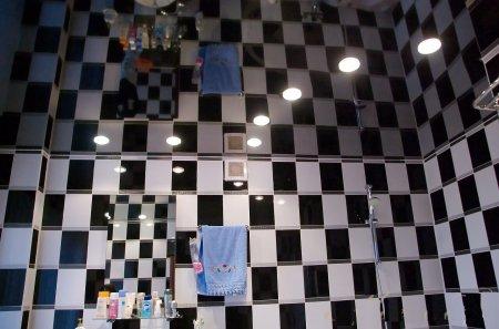 Черный натяжной потолок для ванной