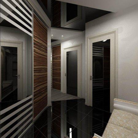 Черный натяжной потолок в прихожей