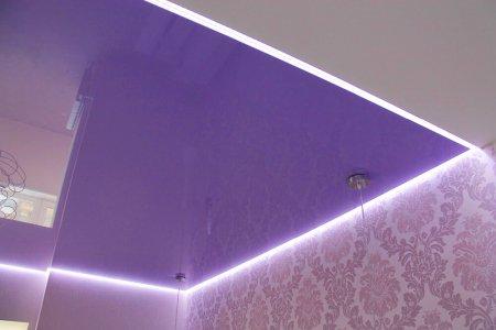 Детская с фиолетовым натяжным потолком