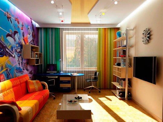 Детская с многоуровневым натяжным потолком