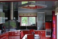 Двухуровневый натяжной потолок для кухни