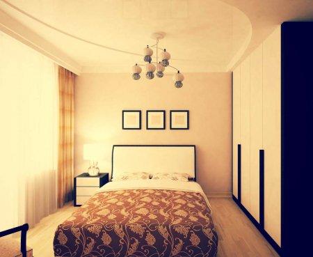 Двухуровневый натяжной потолок для спальни