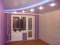 Фиолетовый натяжной потолок для спальни
