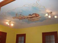 Фотопечать на потолке в прихожей