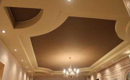 Гостиная с кожаным натяжным потолком