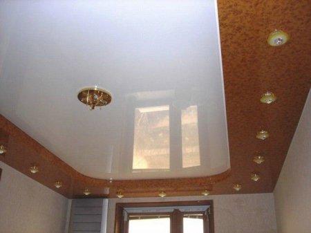 Кабинет с кожаным натяжным потолком