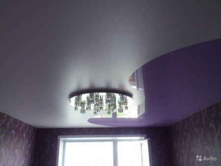 Комбинированный натяжной потолок в кабинете