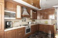 Коричневый натяжной потолок для кухни