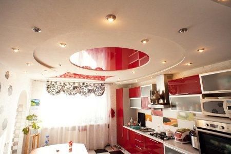 Круглый натяжной потолок на кухне