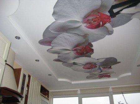 Кухня с фотопечатью на потолке (цветы)