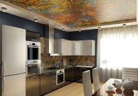 Кухня с фотопечатью на потолке