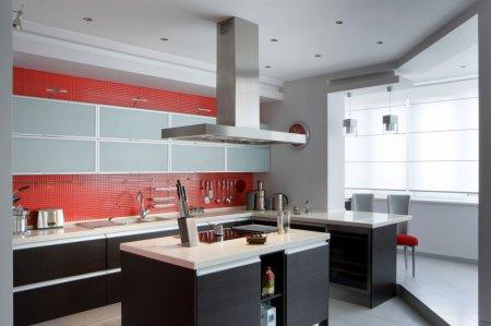 Матовый белый потолок на кухне