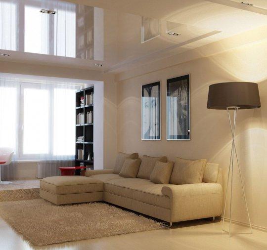 Многоуровневый белый потолок в студии