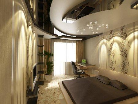 Многоуровневый натяжной потолок с люстрой