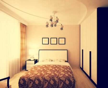 Многоуровневый натяжной потолок в спальне