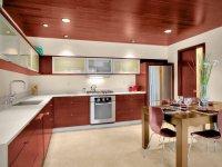 """Натяжной потолок на кухне """"под дерево"""""""