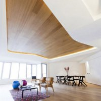 Натяжной потолок с фотопечатью дерева