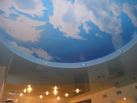 Натяжной потолок в студии с фотопечатью