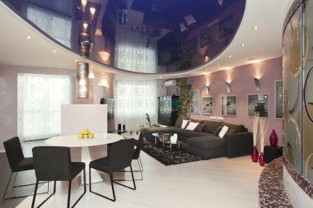 Овальный потолок в гостиной