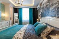 Спальня с парящим натяжным потолком