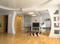 Студия с белым натяжным потолком