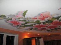 Студия с фотопечатью на потолке (цветы)