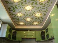 Тканевый натяжной потолок для кухни