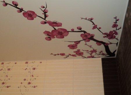 Ванная с фотопечатью на потолке