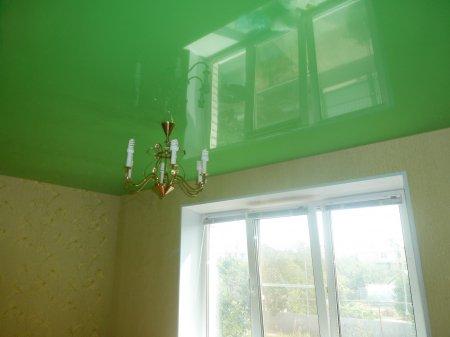 Зеленый натяжной потолок для гостиной